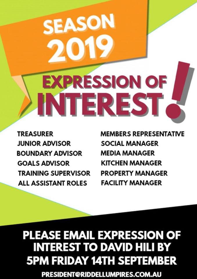 2019 expressions of interest